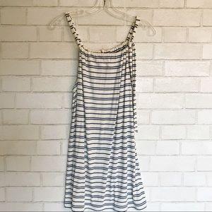 CAbi / Dress Blue White Stripe String Spaghetti M